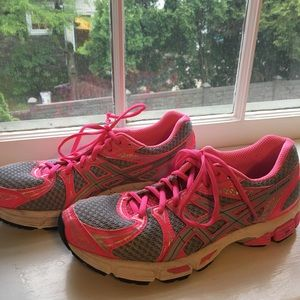 Pink and Grey ASICS Sneakers (Size Woman's 9)